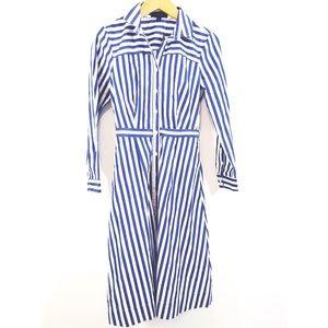J Crew striped blue white button front shirt dress